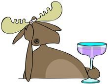 Depressed Moose Drinking Alcohol