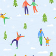 Winter season illustration Background with people characters family ice skating. Christmas and New Year Holiday seamless pattern for design, wrapping paper, invitation, greeting card, poster. Vector