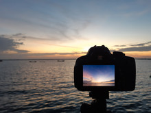 Beautiful Sunrise In Camera Screen. Viewpoint Ay Ang Sila, Mueang District, Chon Buri Province, Thailand. Public Area.
