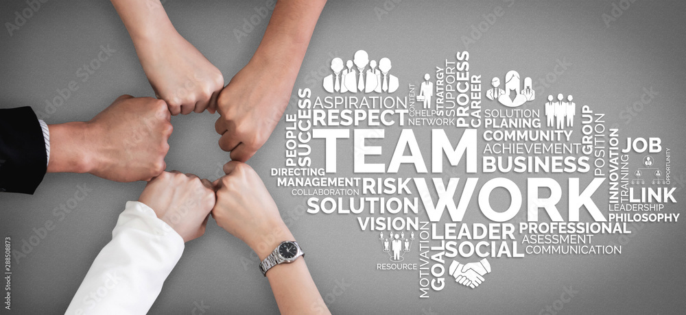 Fototapety, obrazy: Teamwork and Business Human Resources - Group of business people working together as successful team building strength and unity for organization. Partnership, agreement and teamwork concept.