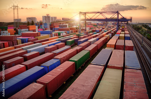 Valokuva Container vagoons in export and import business and logistics