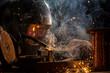 Leinwanddruck Bild - Welder is welding metal part in industrial workshop.