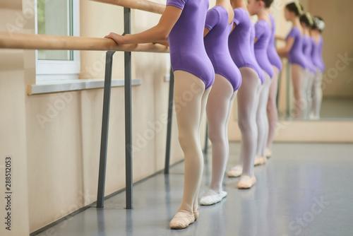 Photo  Ballet girls at ballet barre