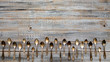 canvas print picture - Vintage cutlery - spoons, forks and knives on an old wooden background.
