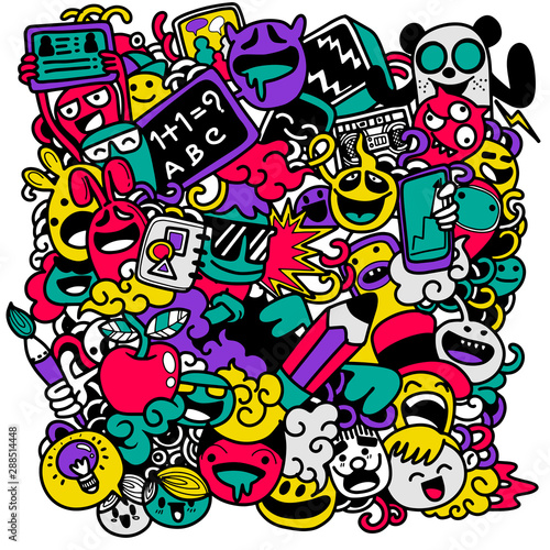 Spoed Foto op Canvas Graffiti Back to school vector banner design with funny school characters a,Hand drawn illustration isolated