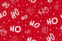 Ho Ho Ho Pattern, Santa Claus Laugh. Seamless Texture Pattern Red Background.