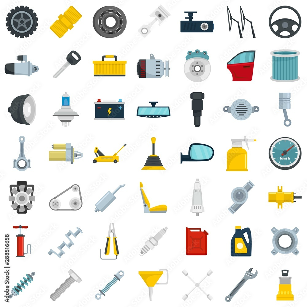 Fototapety, obrazy: Car parts icon set. Flat set of car parts vector icons for web design