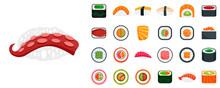 Sushi Roll Icon Set. Flat Set ...