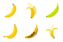 Banana Icons Set. Flat Set Of Banana Vector Icons For Web Design