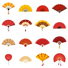 Handheld Fan Icons Set. Flat S...