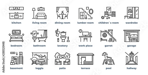 Stampa su Tela Home rooms line icons
