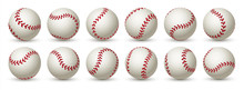 Realistic Baseball Ball. Leather 3D Softball White Ball Mockup Design With Red Lace. Vector Isolated Graphic Template Balls In Flight Set