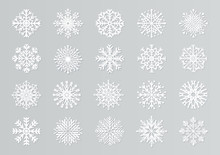 Paper Cut Snowflakes. White 3D Christmas Design Templates For Decoration And Greeting Cards. Vector Handmade Isolated White Paper Cutout Snow Elements Set
