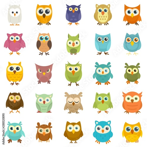 Owl icons set. Flat set of owl vector icons for web design