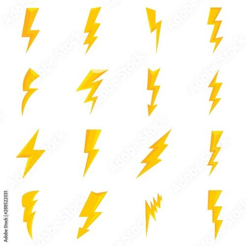 Lightning bolt icons set Poster Mural XXL