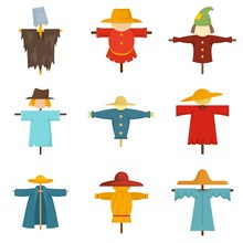 Scarecrow Icons Set. Flat Set Of Scarecrow Vector Icons For Web Design