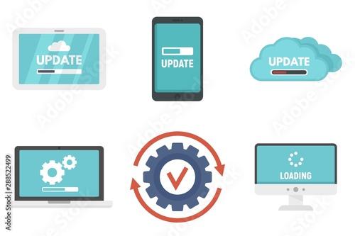 Obraz na plátně System update icons set