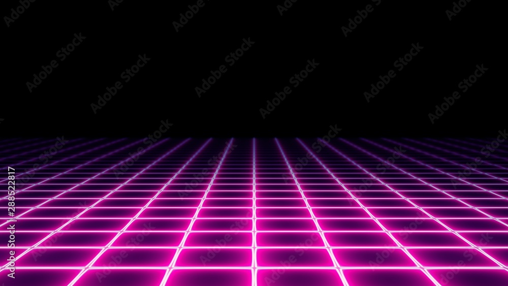 Fototapety, obrazy: A 1980s vaporwave style neon grid (electrified field) with a dark horizon. Retro futuristic pseudo-3d illustration element.