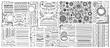 big set of doodle sketch flower design elements, floral drawing