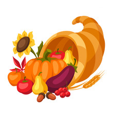 Happy Thanksgiving Day Horn Of Plenty.