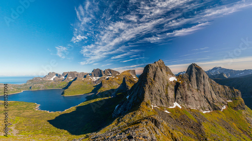 Fotografie, Obraz  Stunning view from Merkan peak summit on Lofoten islands, Reine area, Scandinavi