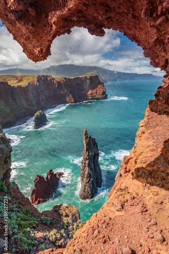Lava formations on a coast ofPonta de Sao Lourenco peninsula, Madeira island, Portugal Fototapete