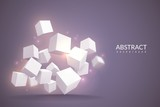 3d cubes background. Digital poster with cubes. White blocks in perspective, internet connection technology vector concept