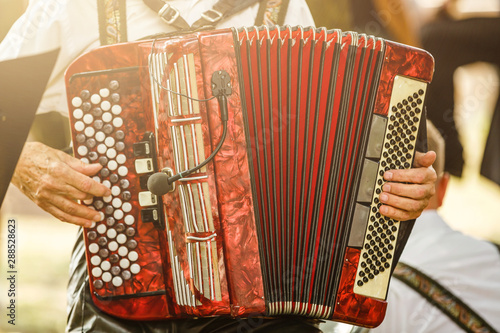 Fotografía Male playing on the accordion against a grunge background