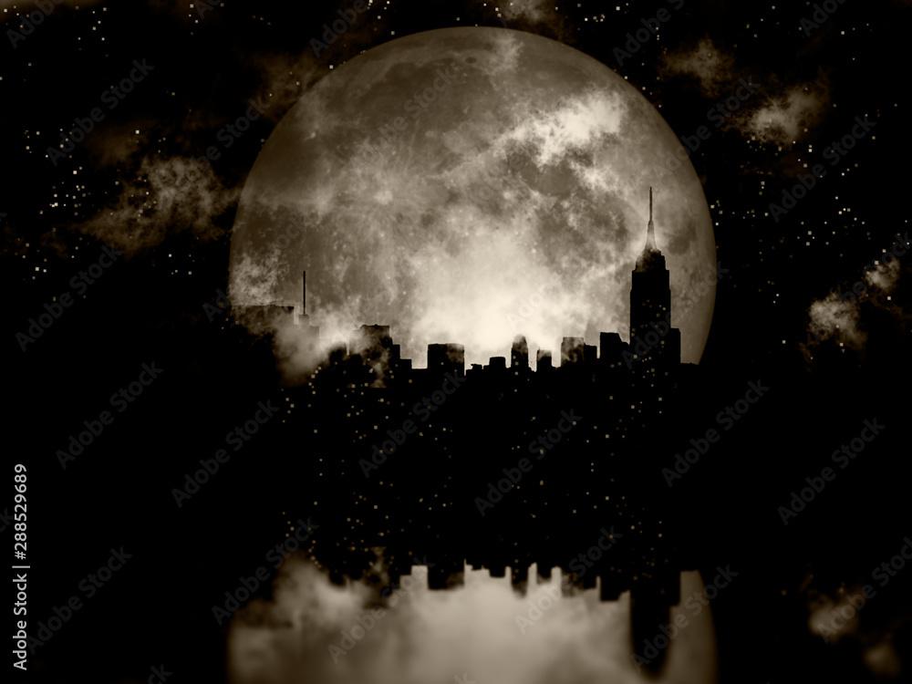 Fototapety, obrazy: Full moon night city