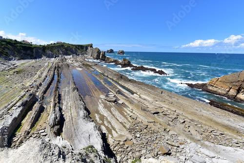 Arnia coast and Arnia beach in lowtide,  Santander, Cantabria, Spain Canvas Print
