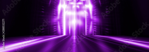 Empty stage. Violet neon, abstract blue background. Rays of searchlights, light, abstract tunnel, corridor. - 288532271