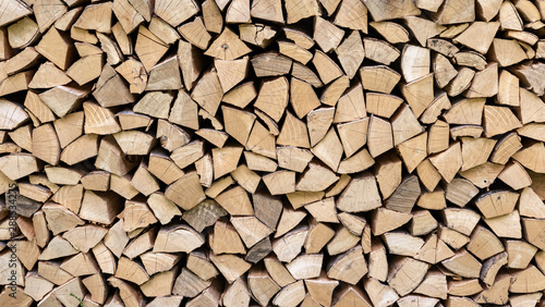 Canvastavla Pila de madera, con bloques homogéneos en madera de pino