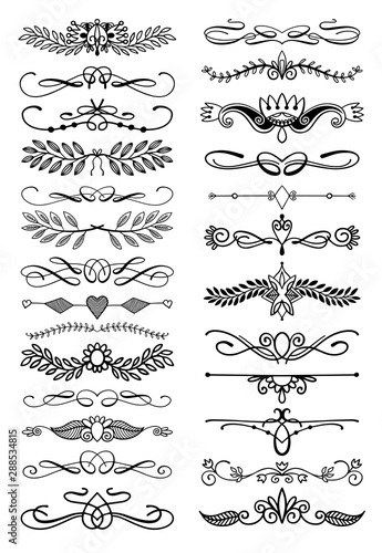 doodle sketch hand drawing divider, leaves and flourish design - 288534815