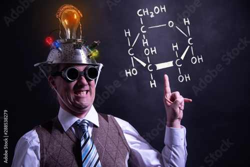 Photo Nerd presenting handdrawn chemical formula of formic glucose