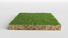 3D Illustration Soil Ground Cross Section With Earth Land And Green Grass, Realistic 3D Rendering Cutaway Terrain Floor