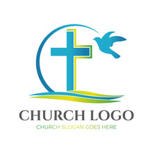 Christian Church Logo Design With Cross And Pigeon