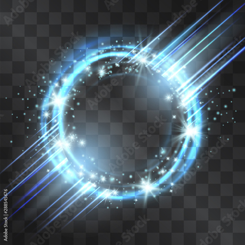 Photo Light effect circle frame with blue neon laser, glowing tail of shining stardust sparkles, cold illumination
