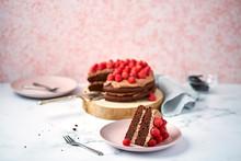 Chocolate And Raspberry Cake And Slice