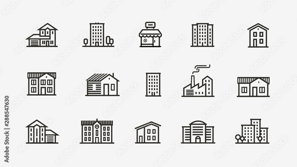Fototapeta House icon set. Building, building symbol. Vector illustration