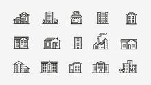 House Icon Set. Building, Building Symbol. Vector Illustration