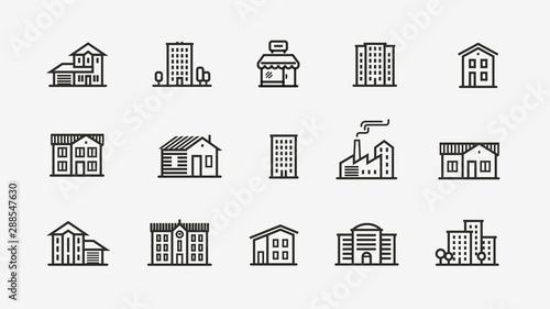 Fototapeta House icon set. Building, building symbol. Vector illustration obraz