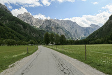 Beautifull Logar Valley Or Logarska Dolina Park, Slovenia, Europe. Inspiration Travel Under Kamnik-Savinja Alps.