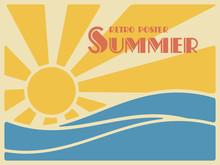 Summer Retro Poster. Sun Over The Sea Waves.