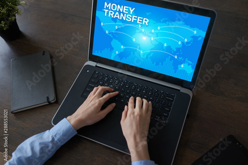 Global Money transfer and e-payments. Internet and financial technology concept.
