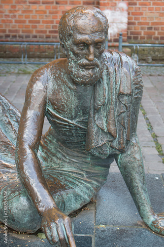 Photo Archimedes Statue Market Place in Güstrow Mecklenburg Western Pomerania Germany