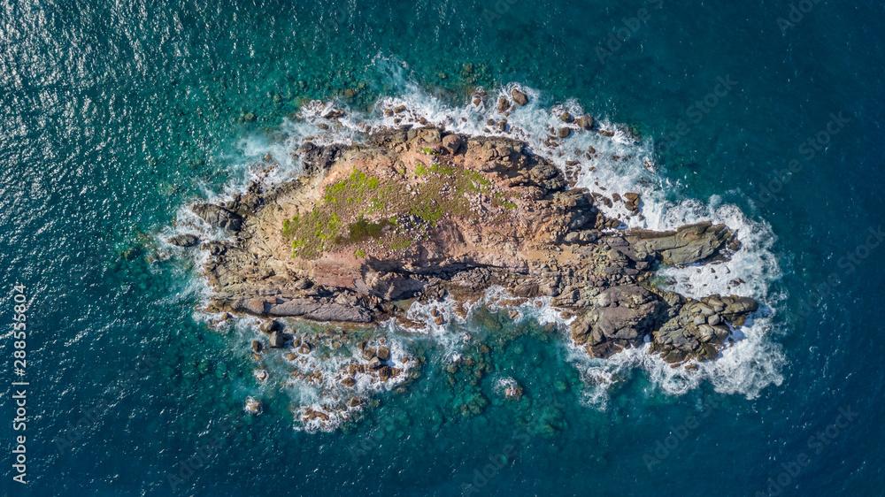 Fototapety, obrazy: Drone view of a small rocky island at Guana Bay Saint Martin Sint Maarten