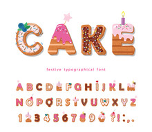 Cake Cartoon Font. Cute Sweet ...