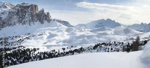 Panoramic winter view of Alpine mountains Wallpaper Mural