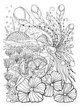 Adult Coloring Book Page With Pregnant Lady.Pregnancy In Zentangle Style Art.Black And White