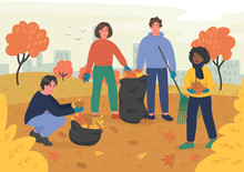 Autumn Clean-up. Group Of Young People Volunteers Cleaning City Park. Vector Illustration.